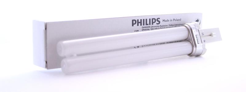 Лампа ультрафиолетовая 311 н.м. PHILIPS PL-S 9W/01/2P 1CT/6X10BOX, G23 (2 штыря) фототерапия